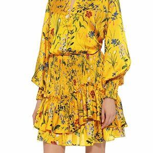 Alexis Rianna Floral Satin Ruffled Mini Dress